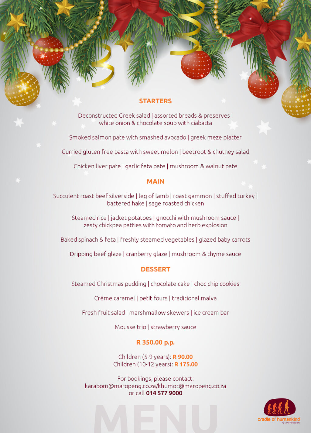 Maropeng Xmas Lunch Menu 2019 1