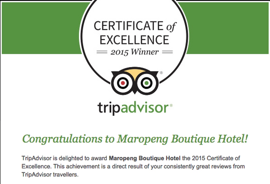 Maropeng Receives Three Tripadvisor Certificates Of Excellence